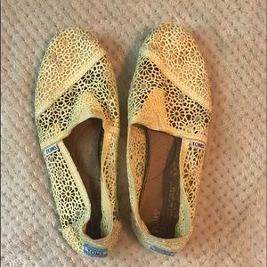 Yellow crochet toms